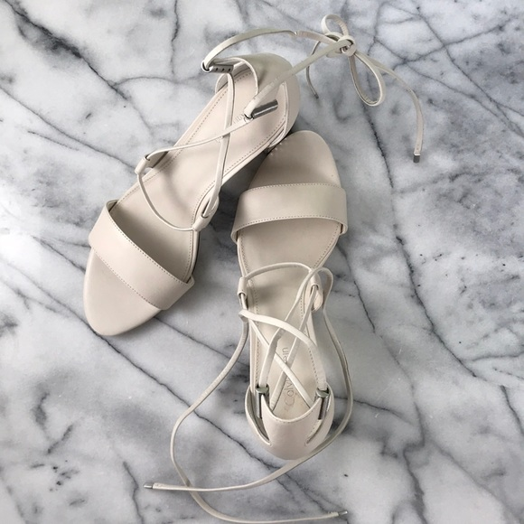5dd075df3d9 Calvin Klein Shoes - Calvin Klein White Natania Lace-Up Sandals NWOT